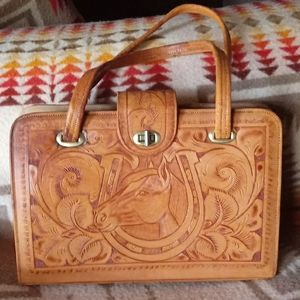 Vintage Hand Tooled Leather Horse Bag
